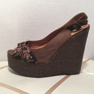 Qupid Brown Canvas Slingback Wedges